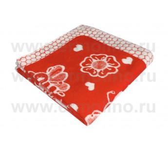 Детское Байковое жаккардовое одеяло размер 100х140 100% хлопок Ермолино (Россия) Малиновое