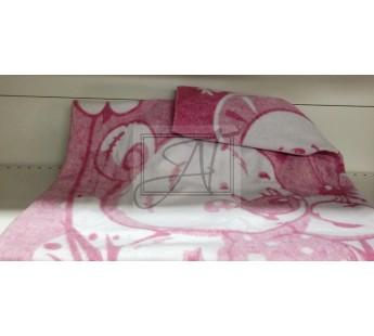 "Одеяло маленькое ""Медвежонок"" 100% х/б 100х140 бело-розовое"