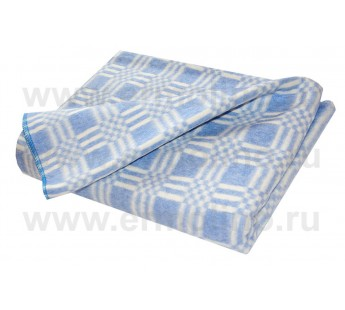 Синее Байковое 205х140 арт. 5772В 75% х/б +25% вискоза клетка Ермолино одеяло