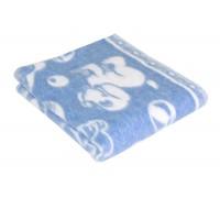 Детское Голубое Байковое одеяло 100х140 Ермолино для новорожденных