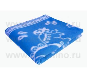Одеяло байковое детское 140х100 жаккардовое Синее 100% хлопок Ермошка