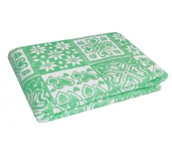 Зеленое Байковое жаккард 215х150 арт. 5772ВЖ 75% х/б +25% вискоза Ермолино одеяло