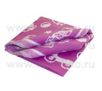 Байковое одеяло Ермолино детское жаккардовое состав 100% хлопок Фиолетовое 100х140