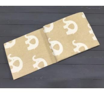 """Одеяло маленькое """"Слоны"""" 100х140 бело-бежевое"""