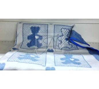 "Одеяло маленькое ""Барни"" 100% х/б 100х140 бело-голубое"