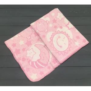 Одеяло байковое для новорожденных 85х115 бело-розовое