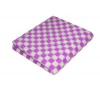 Одеяло Ермолино детское байковое 100х140 см Ермошка, рисунок клетка Фиолетовое