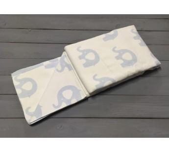 """Одеяло маленькое """"Слоны"""" 100х140 бело-голубое"""