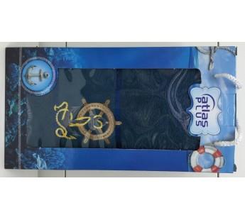 Изумруд Якорь махра ( 70х140) в коробке Набор полотенце Атлас Текстиль