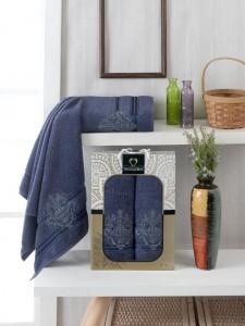 10158 Синий ELISA махра (50х90+70х140 ) Набор полотенец в коробке TWO DOLPHINS