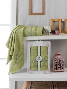10156 Фисташковый ALMIRA махра (50х90+70х140 ) Набор полотенец в коробке TWO DOLPHINS