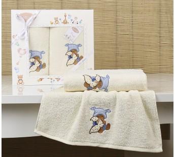 """Комплект полотенец """"KARNA"""" детский BAMBINO-TEDDY 50x70-70х120 см Кремовый"""