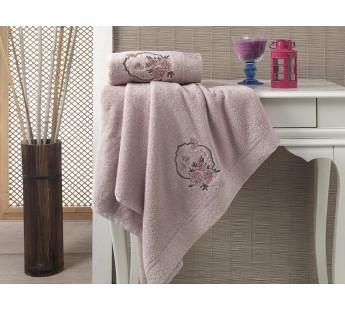 """Комплект махровых полотенец """"KARNA"""" DEMET 50x90-70х140 см Грязно-розовый"""