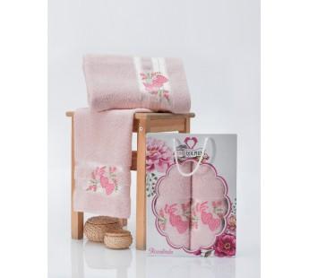 9480 Светло-розовый ROSELINDA 50х90+70х140 в коробке Набор полотенец TWO DOLPHINS