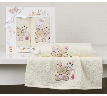 "Комплект полотенец ""KARNA"" детский BAMBINO-BEAR 50x70-70х120 см Mолочный"