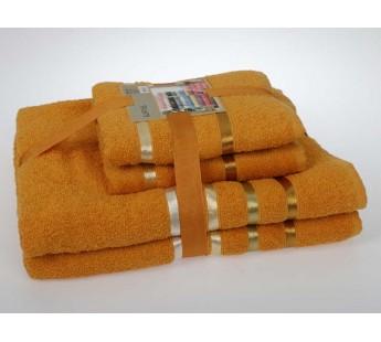 "Комплект махровых полотенец ""KARNA"" BALE 50х80*2-70х140*2 см 1/4 Темно-Желтый"