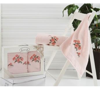 2388 Розовый DEVON махра (50х90+70х140 ) Набор полотенец в коробке КАРНА
