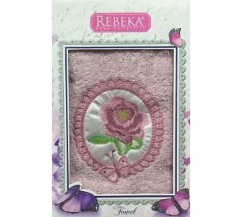 Брусника REBECA 3D Роза с Бабочкой махра 50х90 в коробке Полотенце Атлас Текстиль