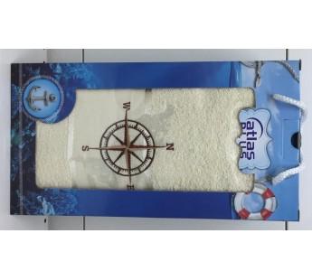 Кремовый Якорь махра ( 70х140) в коробке Набор полотенце Атлас Текстиль