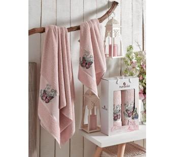 9251 Розовый BUTTERFLY (50х80+70х130 ) в коробке Набор полотенец MERZUKA