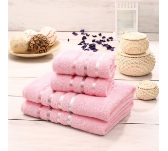"Комплект махровых полотенец ""KARNA"" BALE 50х80*2-70х140*2 см 1/4 Розовый"