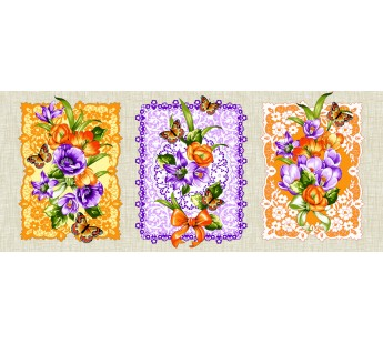 CL-20 Цветы Лен 47х62 ( 10 ) Вафля полотенце Дом Текс