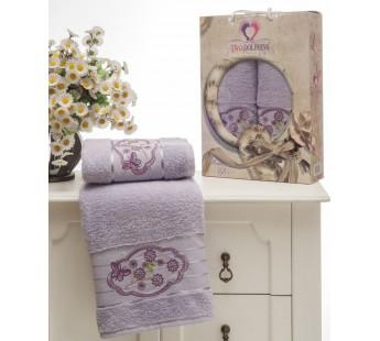8804 Лиловый Романтика махра (50х90+70х140 ) Набор полотенец в коробке TWO DOLPHINS