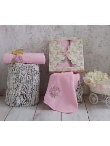 """Комплект махровых полотенец """"KARNA"""" ROMANS 50x90-70х140 см Розовый"""