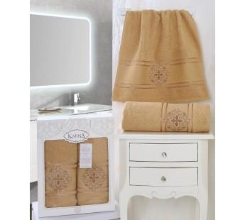 2350 Горчичный SEHER махра (50х90+70х140 ) Набор полотенец в коробке КАРНА