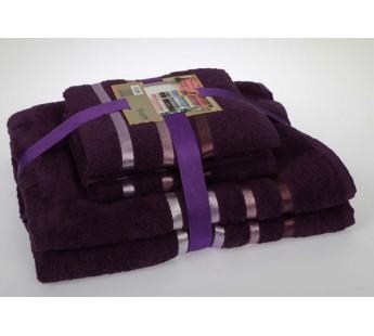 """Комплект махровых полотенец """"KARNA"""" BALE 50х80*2-70х140*2 см 1/4 Фиолетовый"""