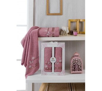 10156 Брусничный ALMIRA махра (50х90+70х140 ) Набор полотенец в коробке TWO DOLPHINS