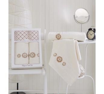 """Комплект махровых полотенец """"KARNA"""" ELEGANCE 50x90-70х140 см Кремовый"""