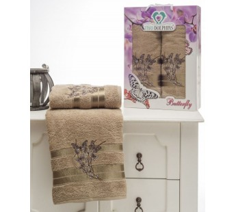 8476 Молочный BUTTERFLY махра (50х90+70х140 ) Набор полотенец в коробке TWO DOLPHINS
