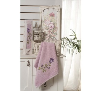"""Полотенце махровое """"KARNA"""" ANGE в упаковке (40x80) см 1\1 Грязно-розовый"""