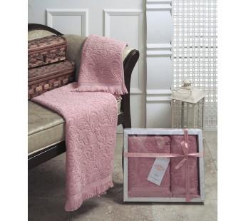 """Комплект махровых полотенец """"KARNA"""" ESRA 50x90-70х140 см Розовый"""