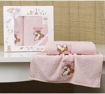 "Комплект полотенец ""KARNA"" детский BAMBINO-TEDDY 50x70-70х120 см Розовый"