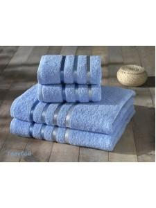 "Комплект махровых полотенец ""KARNA"" BALE 50х80*2-70х140*2 см 1/4 Голубой"
