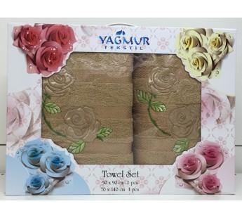 Бежевый Роза Сатин махра ( 50х90+70х140) в коробке Атлас Текстиль