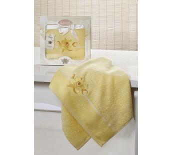 """Полотенце махровое в коробке выш """"KARNA"""" SPRAY (50x90) см Светло-Желтый"""
