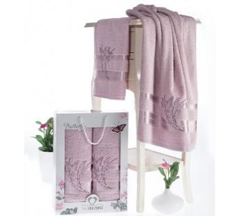 8476 Светло-Розовый BUTTERFLY махра (50х90+70х140 ) Набор полотенец в коробке TWO DOLPHINS
