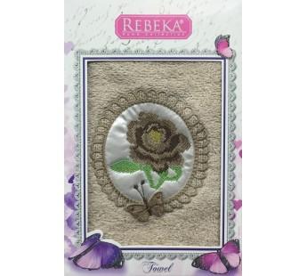 Бежевый REBECA 3D Роза с Бабочкой махра 50х90 в коробке Полотенце Атлас Текстиль