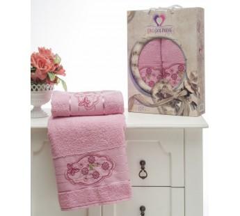 8804 Розовый Романтика махра (50х90+70х140 ) Набор полотенец в коробке TWO DOLPHINS