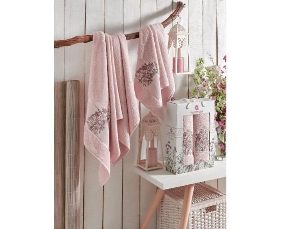 9522 Розовый FLORAL махра ( 50х90+70х140) в коробке Набор полотенец MERZUKA