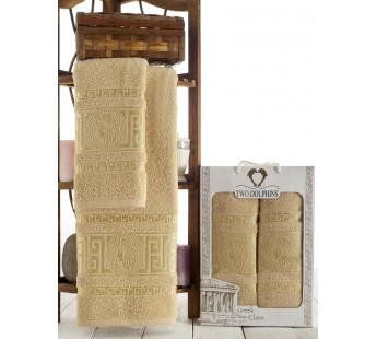 8798 Бежевый GREEK CLASS (50х90+70х140 ) в коробке Набор полотенец TWO DOLPHINS