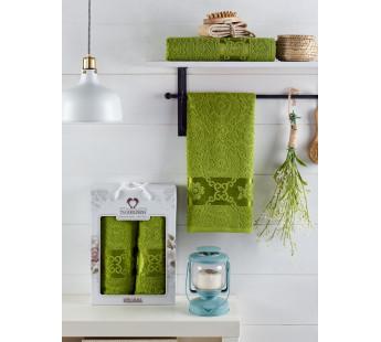 10701 Зеленый MELISSA (50х90+70х140 ) Набор полотенец в коробке TWO DOLPHINS