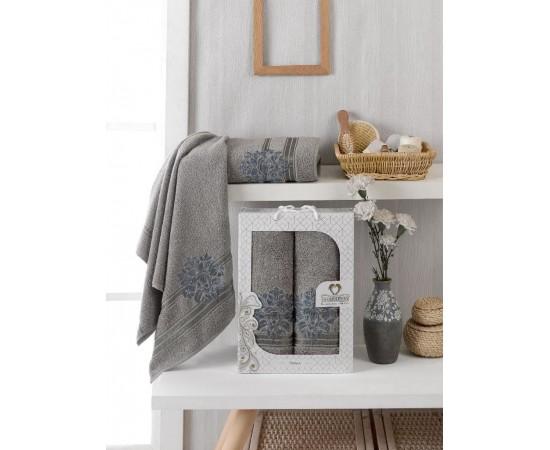 10154 Серый PALMA махра (50х90+70х140 ) Набор полотенец в коробке TWO DOLPHINS