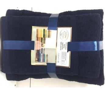 Темно Синий Волна (50х90х2шт+70х140х2шт) комплект полотенец AISHA