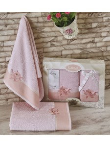 """Комплект махровых полотенец """"KARNA"""" SPRAY 50x90-70х140 см Светло-розовый"""