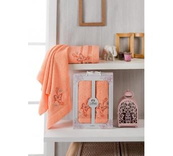 10156 Персиковый ALMIRA махра (50х90+70х140 ) Набор полотенец в коробке TWO DOLPHINS