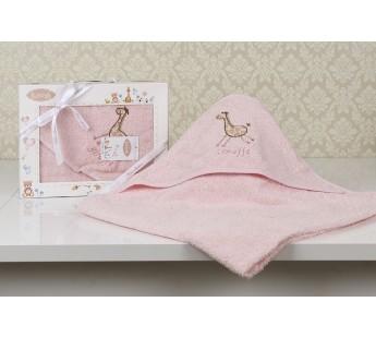 "Полотенце-конверт ""KARNA"" детский BAMBINO-GIRAFFE 90x90 1/1 Розовый"
